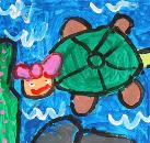 Tortise has Pink Ribbon by Anabelle, age 4, Singapore