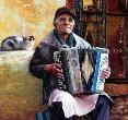 Old Man Playing Accordion by Victor Arseni